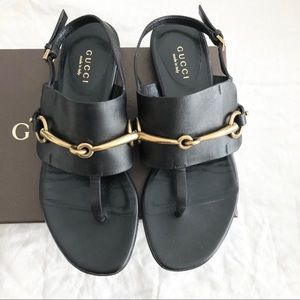 Gucci Horsebit Black Leather Sandals 35